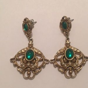 Jewelry - Green and Gold Chandelier Earrings